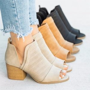 Shoes - SYNDIE Cut Out Booties - TAUPE